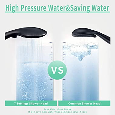 SunCleanse Shower Head, 7 Settings Hand held Shower with ON/OFF Pause Switch, Oil Rubbed Bronze High Pressure Shower Head wit