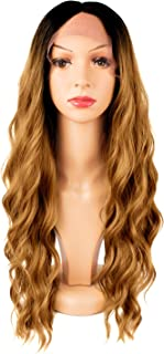 TOFAFA Ombre Honey Blonde Lace Front Wigs for Women Long Wavy Synthetic Wig 28 inches Black Root