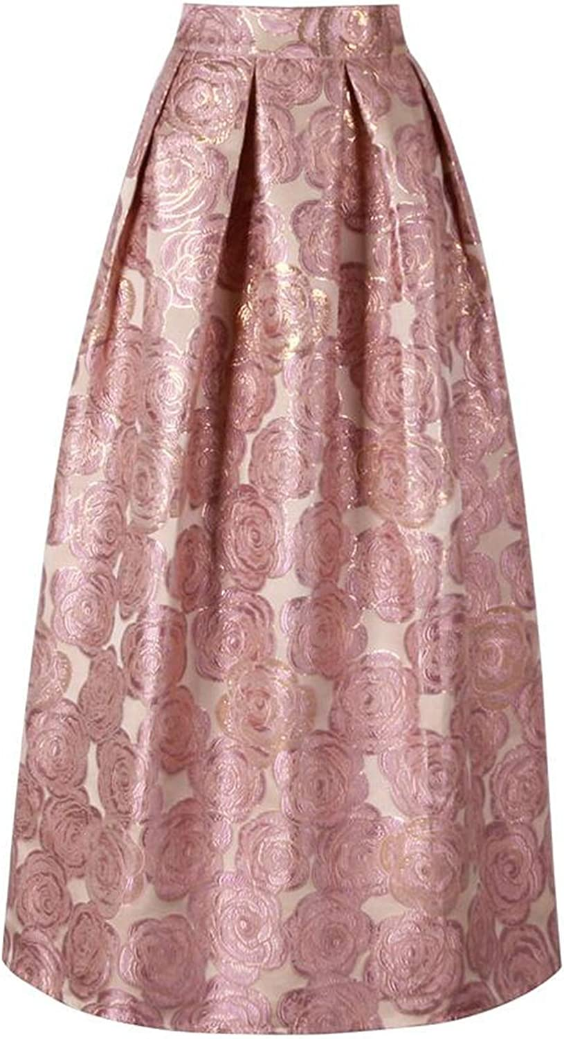 bluee Skieses 2019 Ladies Elegant Floral Print Vintage Maxi Long Skirts High Waist Ball Gown Pleated Flare,Pink,One Size