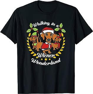 Dachshund Dog Christmas Shirt Walking In a Wiener Wonderland T-Shirt