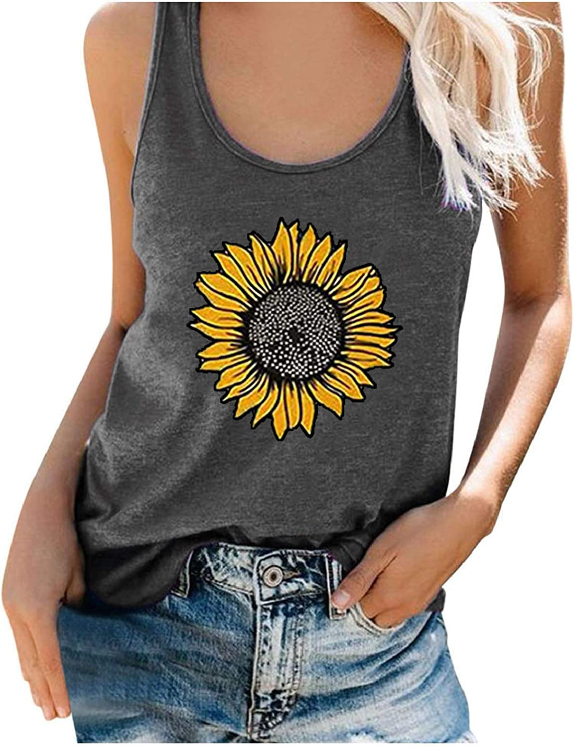 Womens Vintage Graphic Tank Tops Fit Print trend rank Sunflower El Paso Mall Loose Scoop