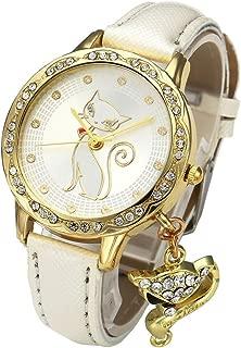 Top Plaza Women Fashion Golden Rhinestone Case Cat Dial White PU Leather Band Quartz Wrist Watch with Cat Charm
