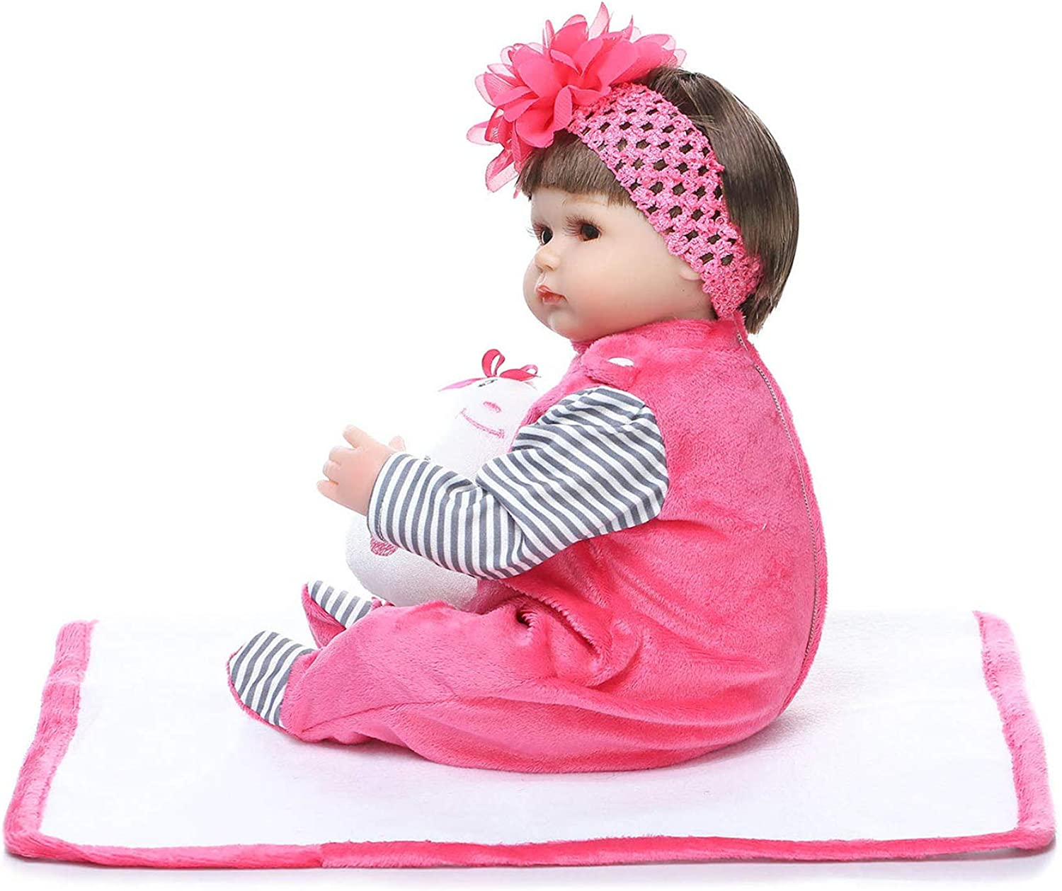 AuchSo Silicone Doll, Soft Realistic Look Safe Nontoxic for Baby Girl Baby Companion Toy for Baby Girl Gift