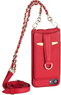 Vaultskin Winsor Red Victoria Crossbody iPhone Chain & Leather Wallet Case