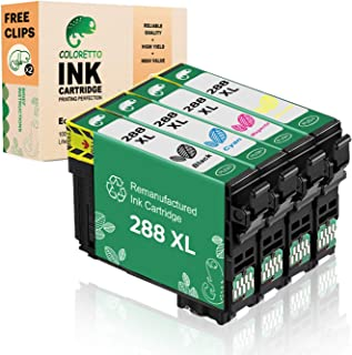 Coloretto Remanufactured Ink Cartridge Replacement for Epson 288 T288XL use for Epson Expression Home XP-240 XP-330 XP-340 XP-430 Printer (1Black 1Cyan 1 Magenta 1Yellow) 4 Pack