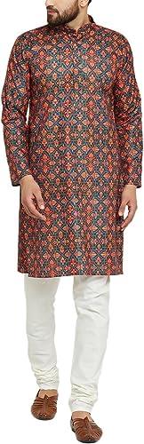 Royal SOJANYA Hommes's Cotton Linen Kurta Pyjamas Set X-grand MultiCouleuruge,