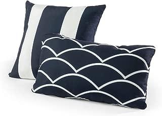 Tecoria Navy Mixed Pattern Outdoor Pillow Set