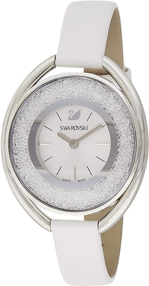 Swarovski crystalline oval white orologio donna con cinturino in pelle 5158548