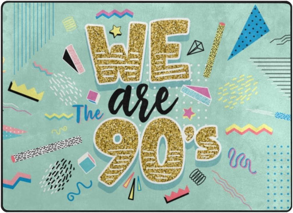 日時指定 ALAZA My 送料無料激安祭 Daily We are The 90s Vintage Colorful x Rug 5'3 Area 4'