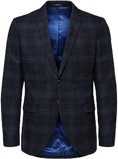 Selected Men's Slhslim-myloiver Blue Chk BLZ B Noos Blazer