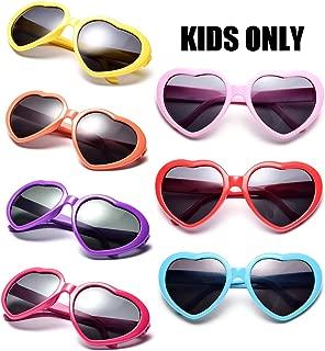 Neon Colors Party Favor Supplies Wholesale Heart Sunglasses for Kids (7 Pack Mix)