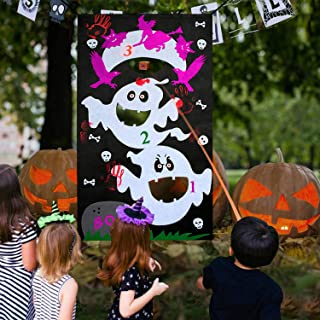YuQi Halloween Toss Games Sets,3 Holes Carnival Halloween Ghost Toss Game Banner with 3 Bean Bags for Kids Adults Party Favor