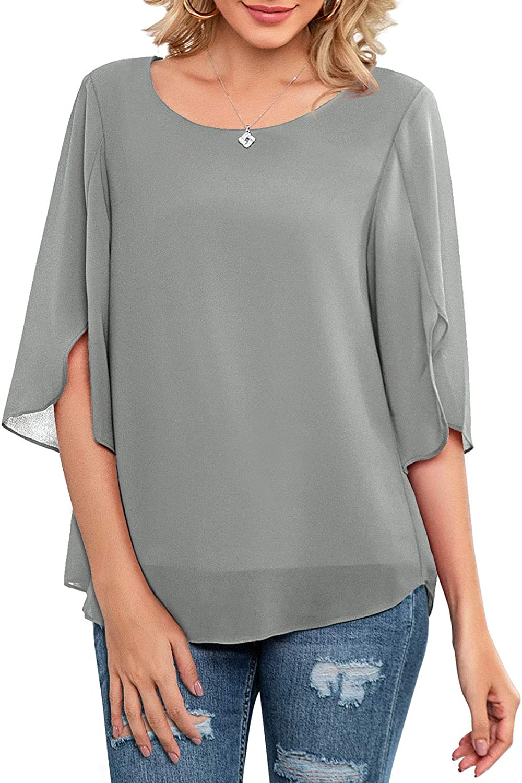 Neineiwu Womens Casual Scoop Neck Loose Top 3/4 Sleeve Chiffon Blouse Shirt Tops