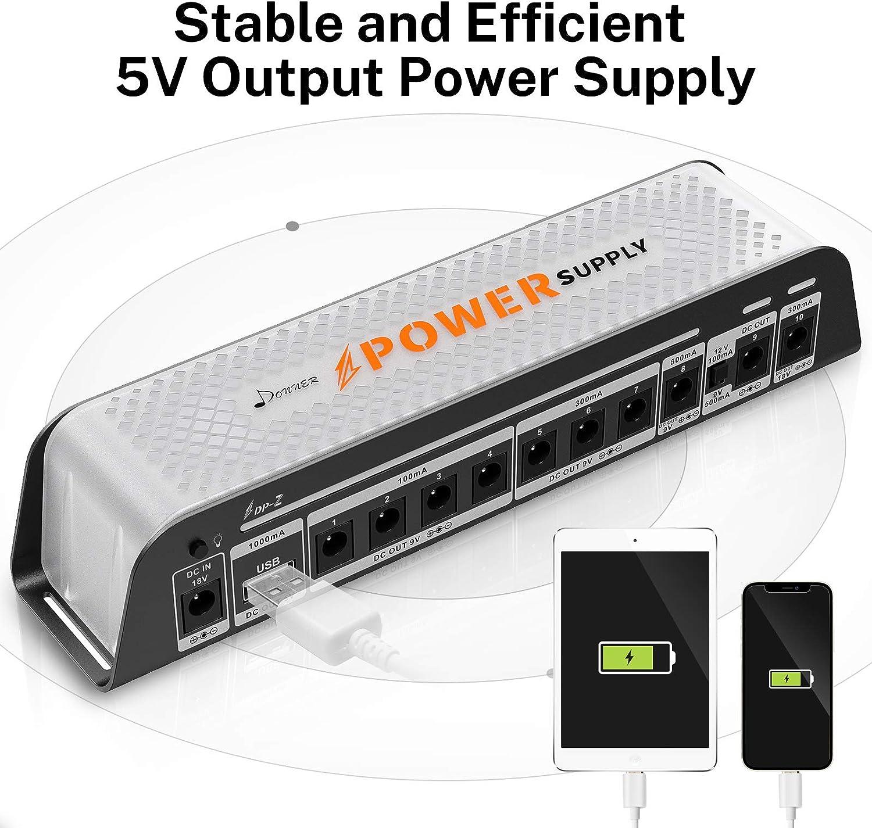 Donner Alimentatore per Pedali Chitarra 9V DP-Z 10 Uscita DC isolata con Porta USB per Pedale Effetto 9V//12V//18V Ingresso DC 18v 2000m