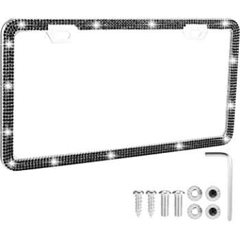 Stainless Steel Thin Border Diamond License Plate Frames with Anti Theft Screw Caps ZHSX Bling Rhinestone License Plate Frame for Women
