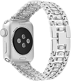AMERTEER Compatible with Apple Watch Band iWatch Bands Series 4 3 2 1 Women Girls, Crystal Rhinestone Replacement Strap, Mesh Chain Jewelry Wristband (38/40mm, Silver)
