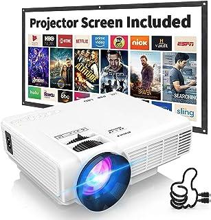 Mini proyector de 7500 lúmenes para películas al aire libre, Full HD 1080P pantalla de 170 pulgadas compatible, PS4, TV St...