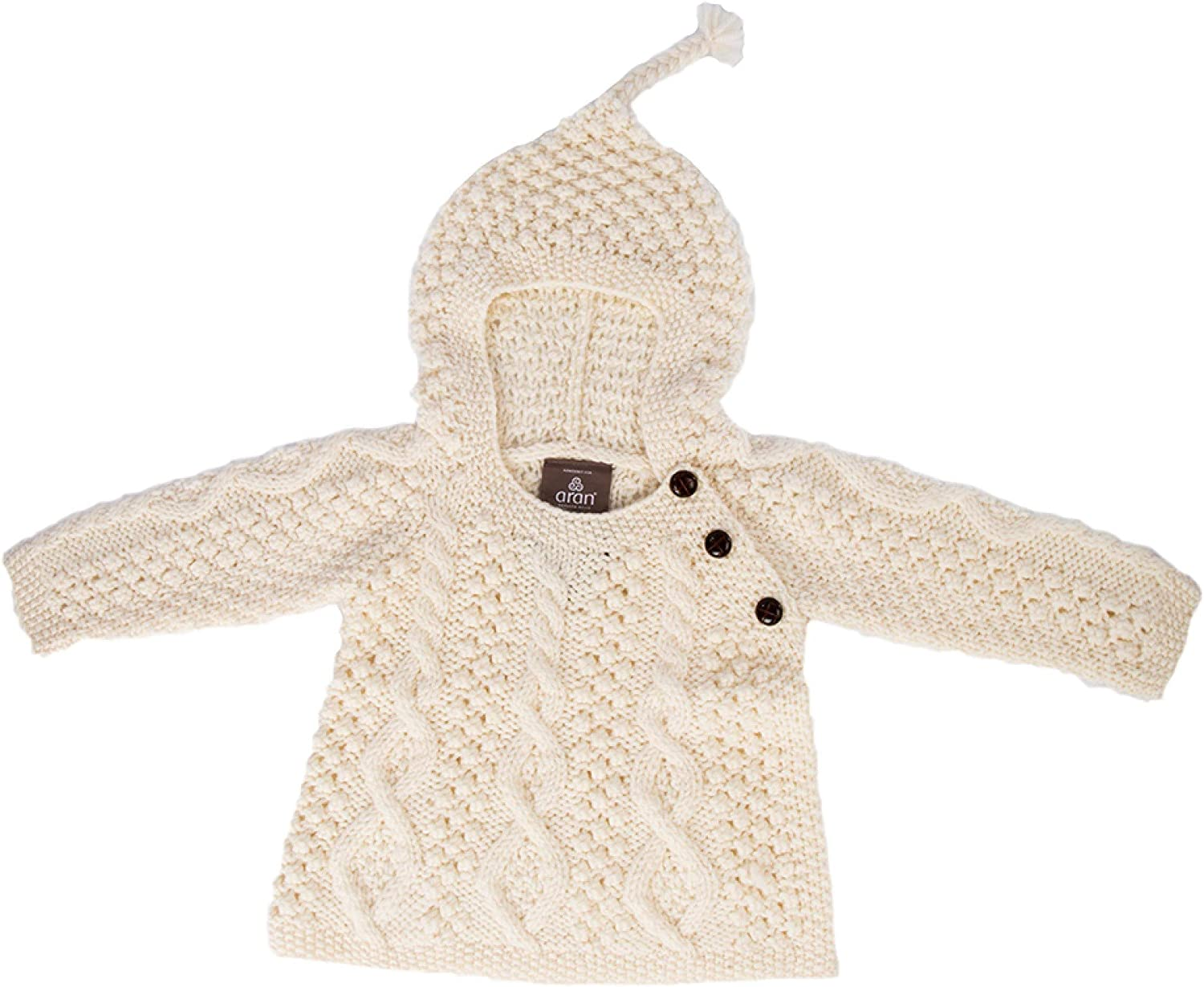 Carraig Donn 100% Merino Wool Baby Hoodie with Side Fastening Buttons Natural
