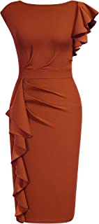 AISIZE Women's Pinup Vintage Ruffle Sleeves Cocktail Party Pencil Dress
