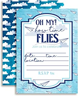 Paper Airplane Time Flies Themed Birthday Party Invitations, 20 5