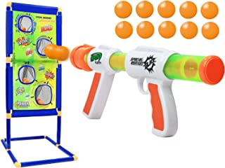 Kiddie Play Atomic Power Popper Gun Ball Shooter with Target and Foam Balls for Kids