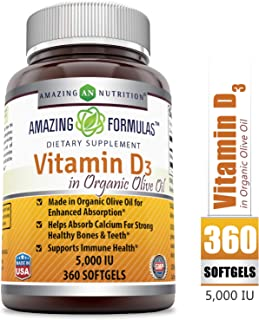 Amazing FormulasVitamin D3 with Organic Olive oil -5000IU, 360Softgels - Most Important VitaminforOptimal Body Function * Supports Bone Health, Cardiovascular Health, Kidney Function and Over-al