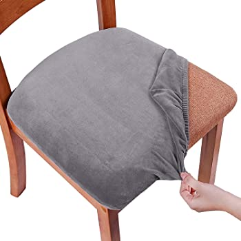 Smiry Stretch Chair Seat Covers For Dining Room Velvet Upholstered Dining Chair Seat Cushion Protectors Removable Washable Chair Slipcovers With Ties Set Of 6 Grey Amazon Co Uk Kitchen Home