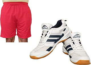 FOOTFIX Men's Ryder White Blue (Non Marking) Gym, Badminton Sports Shoes with Free Red Shorts