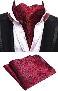 MOHSLEE Men Silk Suit Red Wine Paisley Ascot Woven Cravat Ties Pocket Square Set