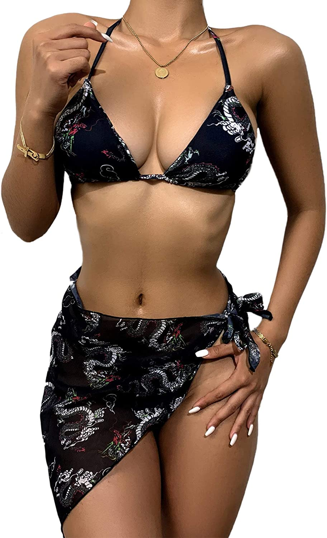 MakeMeChic Women's 3packs Swimsuit Sexy Triangle Bikini Set & Beach Skirt