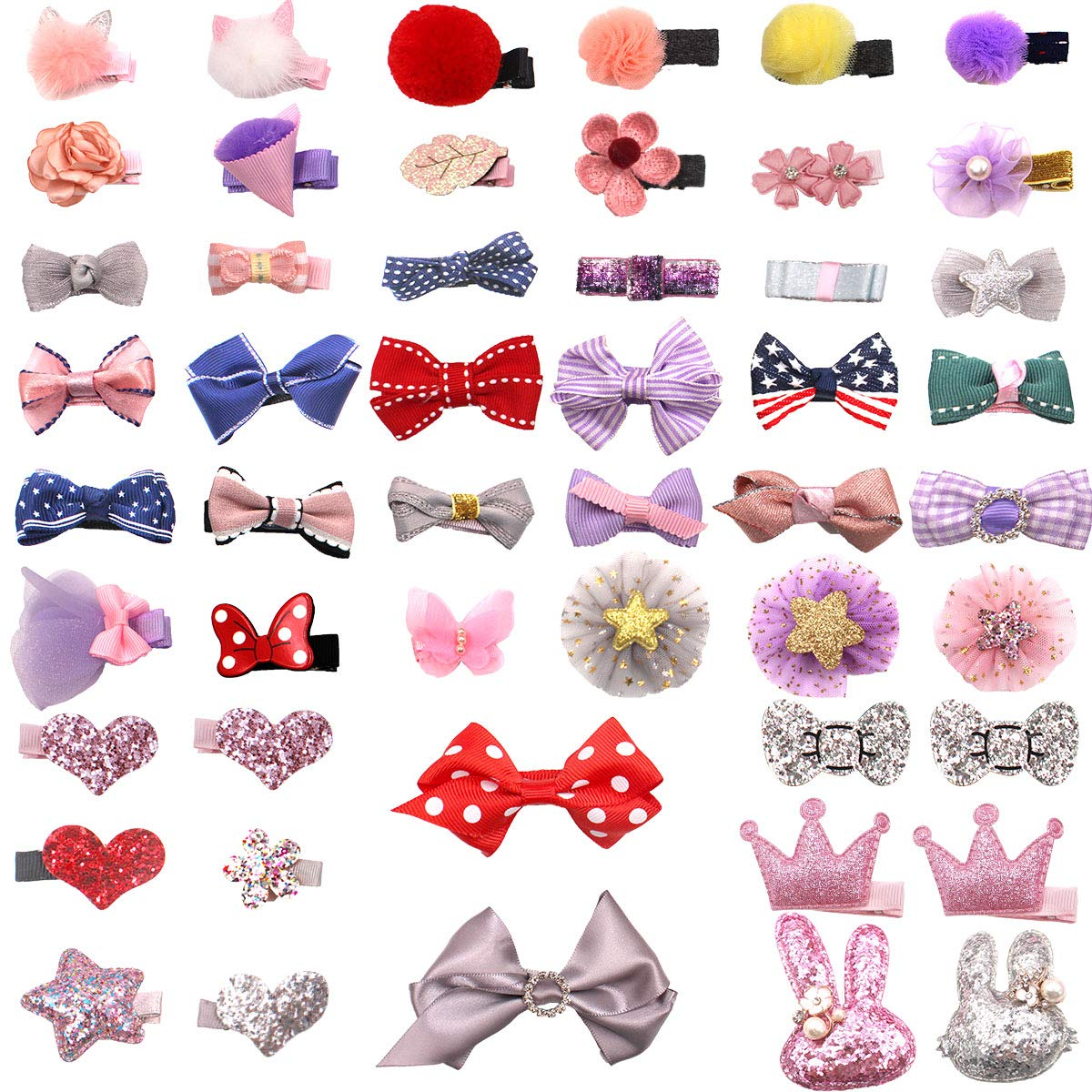 DeD Bargain sale 50 Pieces Mini Ranking TOP9 Hair Bow with Fully Fine Lined Slip Clips No