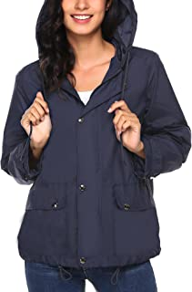 Women's Lightweight Rain Jacket Waterproof Hood Fashion Outdoor Rain Coat S-XXL