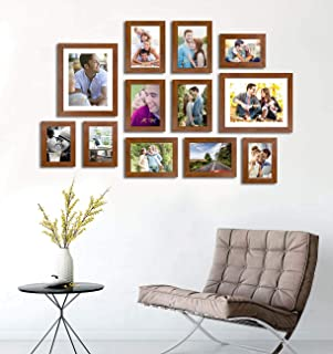 Art Street Striking Glorious Set of 12 Individual Brown Fiber Wood Wall Photo Frames Wall Hanging (Mix Size)(4 Units 4X6, ...