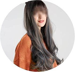 Women Wigs Long Natural Wave Synthetic Flat Bangs Style Hair Ombre with Highlights Full Wig-in Synthetic None,26inches,C