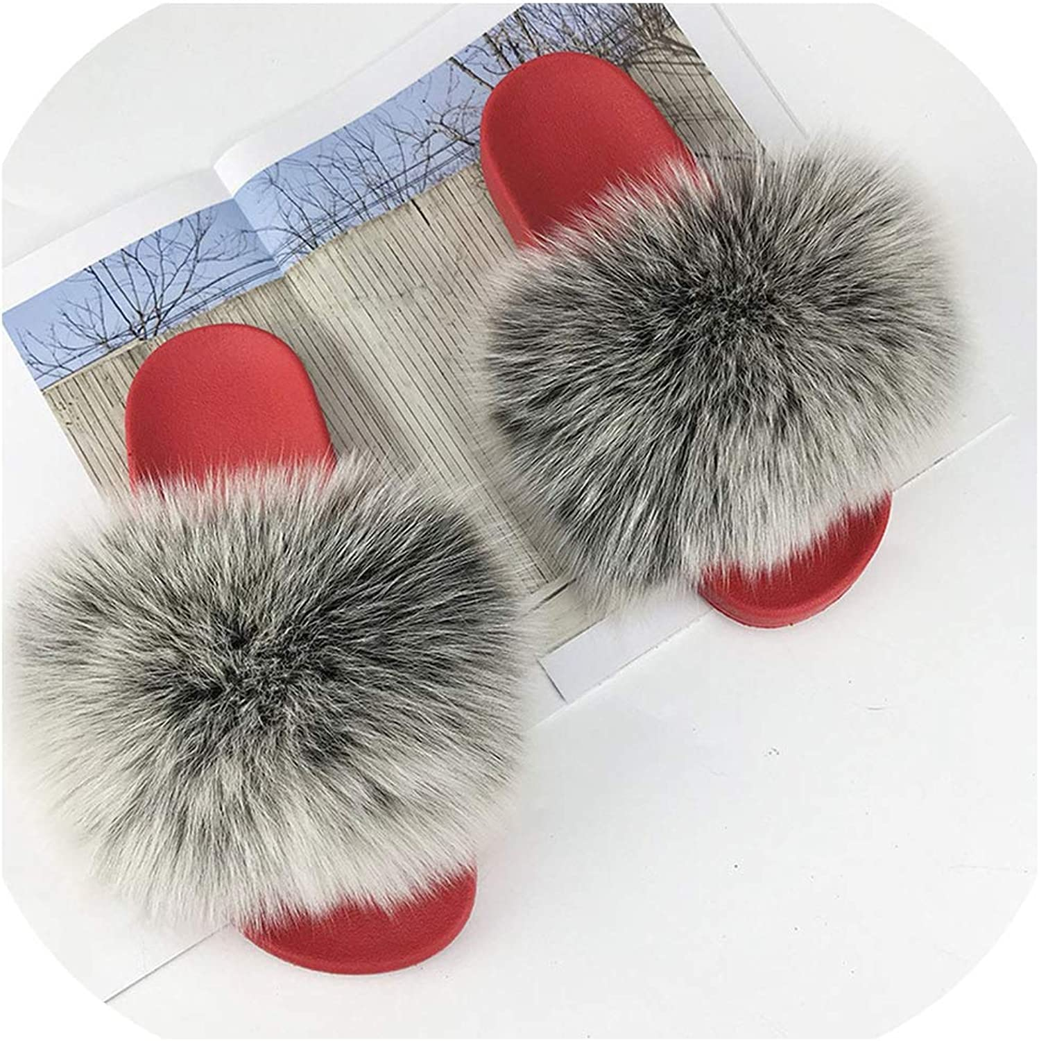 Real Red Slippers Women Slides Hair Flat Fluffy Home Big Size Natural Furry Flip F,