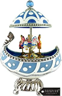 Matashi Carousel Faberge Egg Music Box, Plays Swan Lake, Elegant Table Top Ornament with Crystals Home Decor for Living Room Bedrooms Gift for Musician Christmas Mother's Day Birthday Holiday New Year