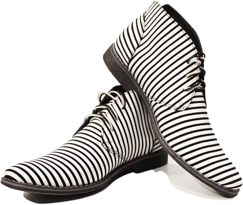 Modello Zebra - handgjord italiensk läder läder läder Mens Färg vit Ankle Chukka Boots - Cowhide Smooth Leather - Lace -Up  stor rabatt