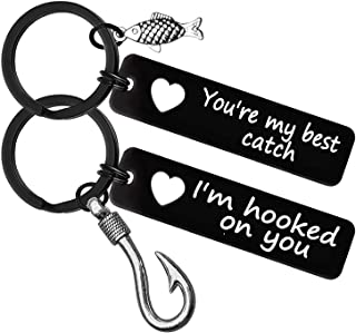 Valentine's Couple Keychain Gifts for Boyfriend Girlfriend Husband Wife I'm Hooked on You You're My Best Catch Keychain Se...
