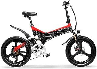 G650 20インチ折りたたみ自転車400W 48V 12.8Ahリチウムイオンバッテリー5レベルペダルアシストフルサスペンション (赤黑, 12.8Ah + 1予備バッテリ)