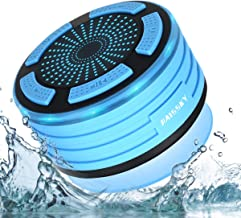 Bluetooth Shower Speaker Wireless Waterproof Speaker with FM Radio and Multi-Color LED Lights Suction Pad Handsfree Loudspeaker Used for Boat/Car/Shower/Bathroom/Pool/Beach/Outdoor (Blue)