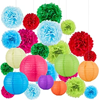25 Pcs Hanging Set,7 Colored Paper Lanterns and 18 Colored Paper Pom Poms,for Birthday,Wedding and Festival Decorations