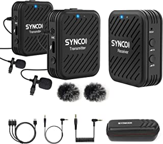【SYNCO Authorized】 SYNCO-G1(A2)-Wireless-Lavalier-Microphone-System 2.4GHz Lapel Mic Dual Transmitters &1Receiver with Low...