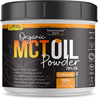 Organic Coconut MCT Oil Powder - Zero Net Carbs - Keto Diet, Paleo, Vegan - Sustained Energy, Appetite Control, Mental Cla...