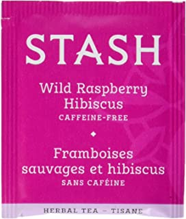Stash Tea Wild Raspberry Hibiscus Herbal Tea 100 Count Box of Tea Bags in Foil (packaging may vary) Individual Herbal Tea Bags for Use in Teapots Mugs or Cups, Brew Hot Tea or Iced Tea