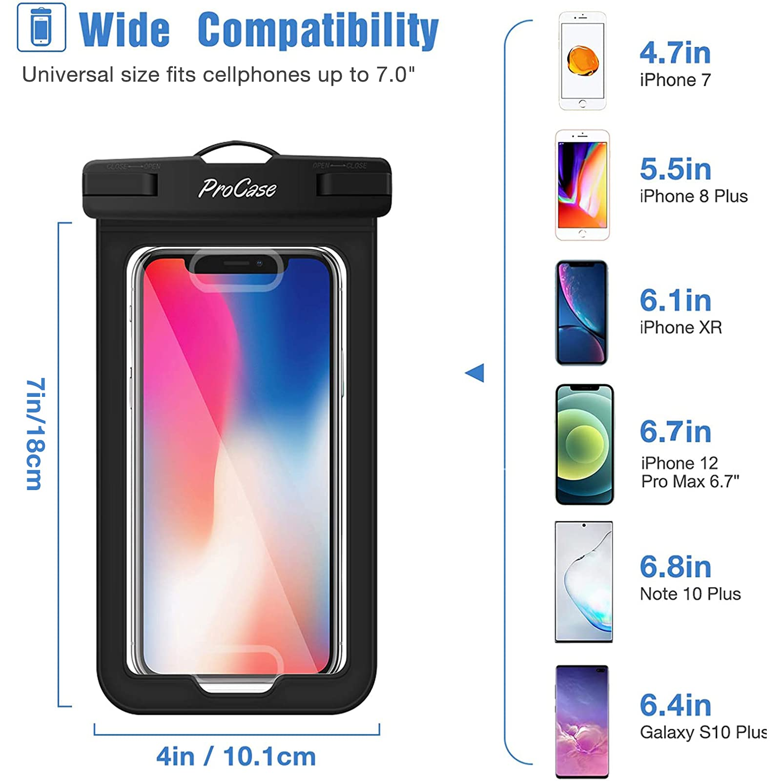 """(2 Pack) ProCase Waterproof Phone Pouch Case with Touch ID up to 7"""", Cellphone Dry Bag for iPhone 13 Pro Max 13 Mini, 12 11 Pro Max Mini Xs Max XR X 8 7 Plus SE with Fingerprint Recognition -Black"""