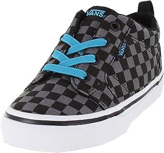 Vans Boy's Bishop Slip On (SP16 Check) Black/Black Skateboarding Shoes