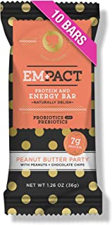 Empact Peanut Butter Party Protein Bars: Fitness Bars, Nutrition Bars, Energy Bars, Gluten Free, Soy Protein Free, Probiotic, Prebiotic (10 Count)