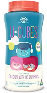 Solgar U-Cubes Children's Calcium with Vitamin D3, 120 Gummies - 3 Flavors, Pink Lemonade, Blueberry & Strawberry - Suppor...