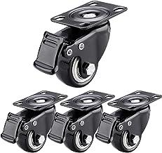 Sywlwxkq Zwenkwielen met remmen,Stofdicht,Universele zwenkwielen,Kogellagers,Rubber wielen, 360° rotatie, Zwart, 4 remmen,...
