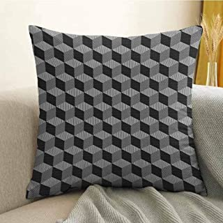 FreeKite Bedding Soft Pillowcase Hypoallergenic Pillowcase Monochrome Cube Composition with Abstract 3D Design Optical Illusion W16 x L16 Inch Black and White